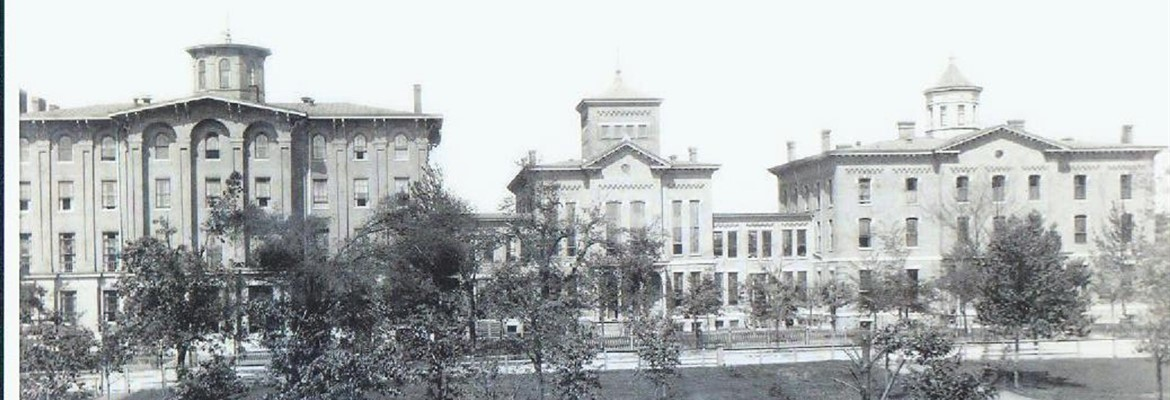 Original Jacobs Hall with chapel and dormitory attached.